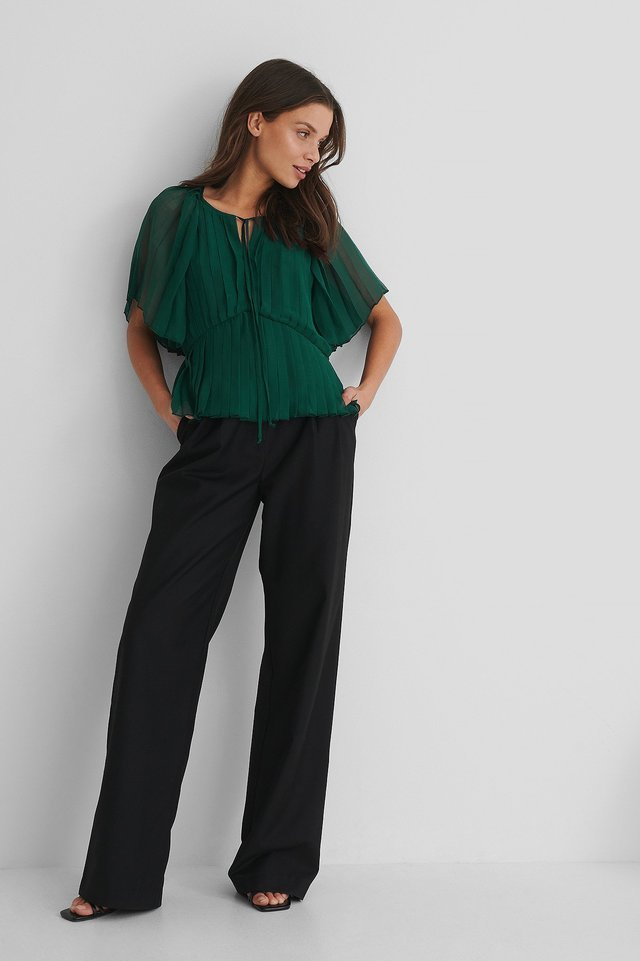 Pleated Kaftan Top Green.