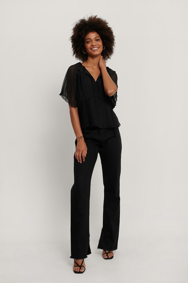 Pleated Kaftan Top Black.