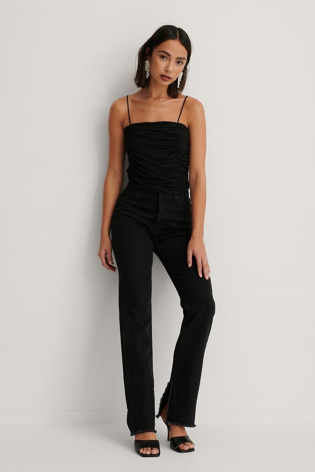 Rouched Cropped Mesh Top Black.