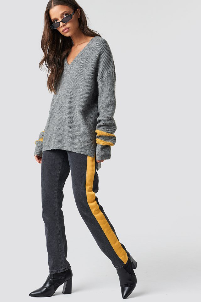 Grey X Yellow Stripe Matching Outfit
