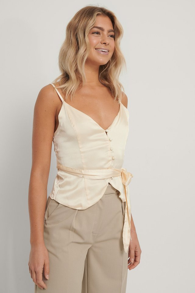 Offwhite Buttoned Smock Back Singlet