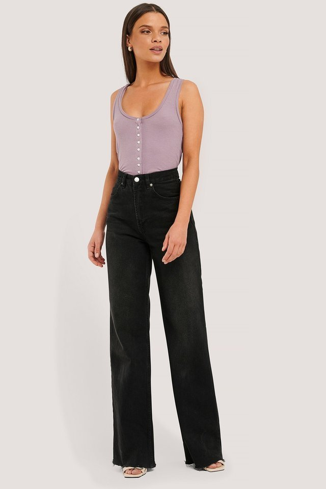 Dusty Light Purple Button Ribbed Tank Top