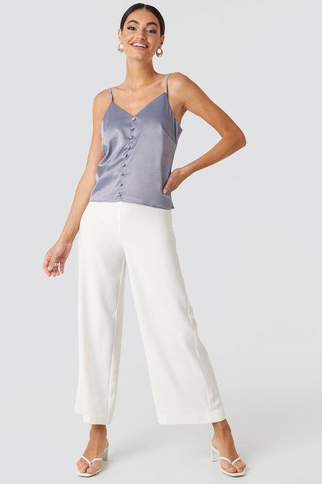 Button Satin Cami top Outfit.