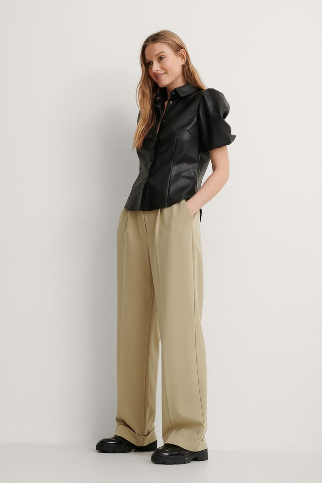 Short Puff Sleeve PU Blouse Outfit.