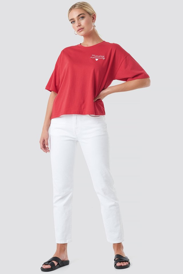 Red/White Monday Mournings Oversized Tee