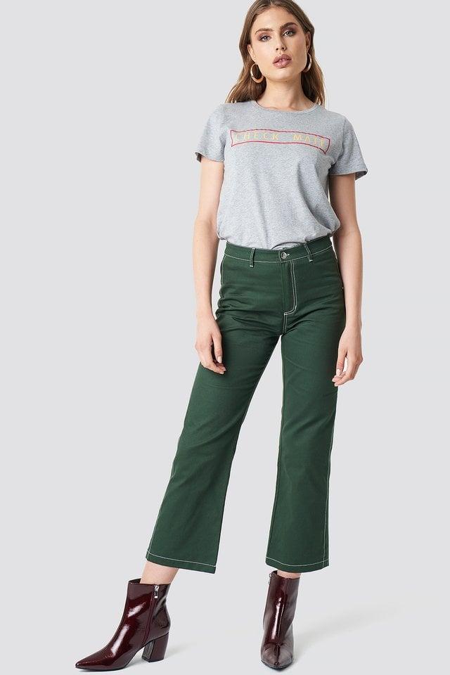 Grey Melange T-Skjorte Med Rå Kant