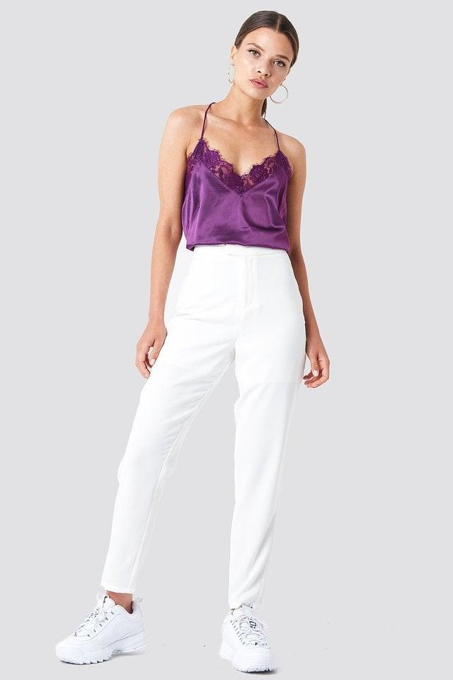 White Krótkie Spodnie Do Żakietu