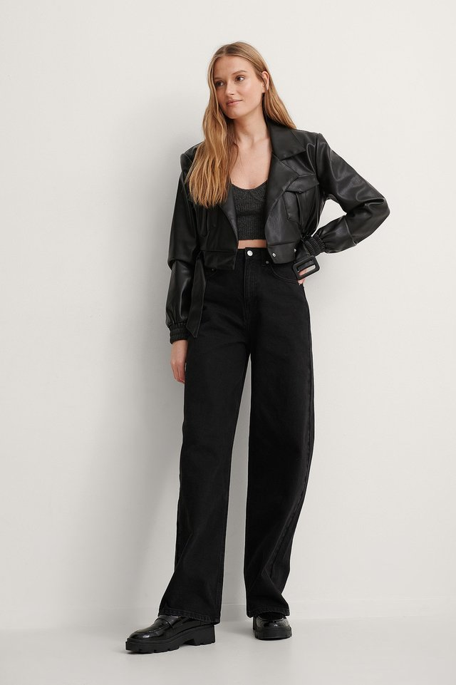 Belted Cropped PU Jacket Outfit.