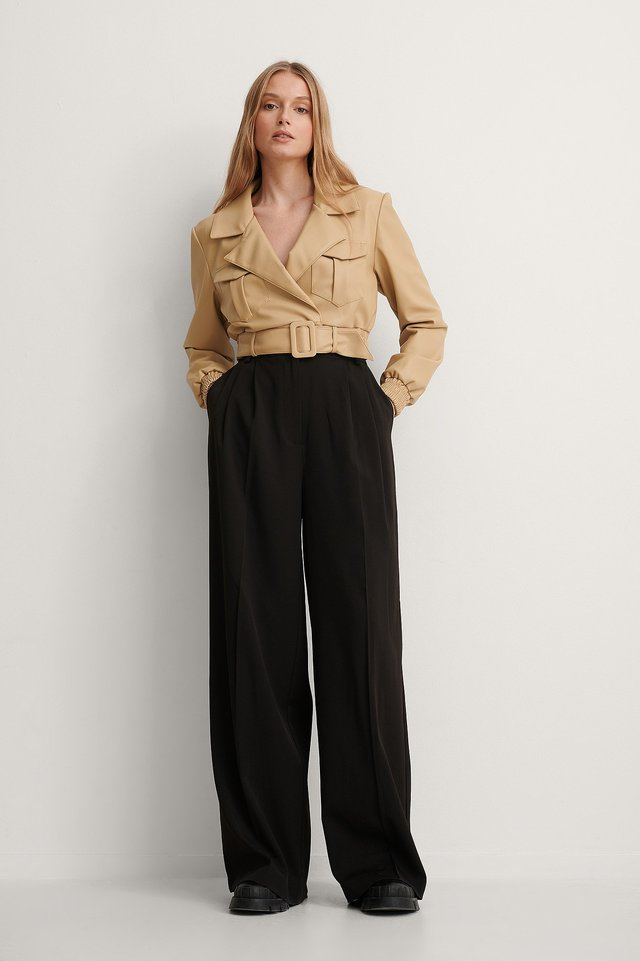 Belted Cropped PU Jacket
