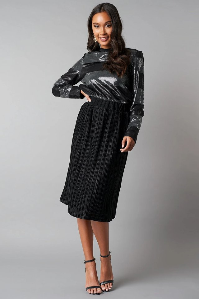 Black/Silver Long Sleeve Sequins Top