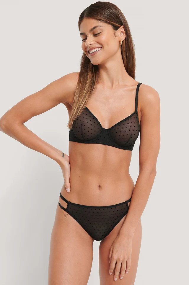Black All Over Dot Mesh Bra