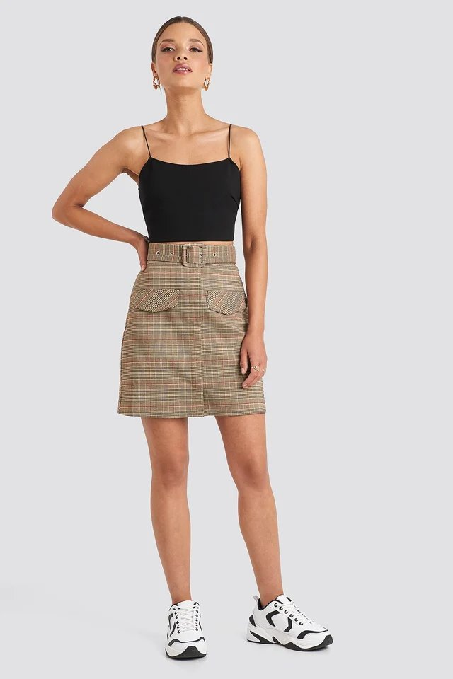 Check Belted Mini Skirt