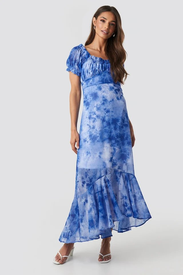 Blue Tie Dye Puff Sleeve Maxi Dress