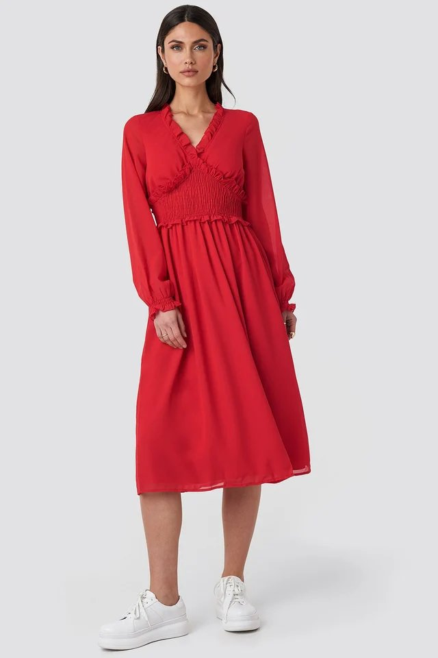 Smock Detail V-Neck Midi Dress Outfit.