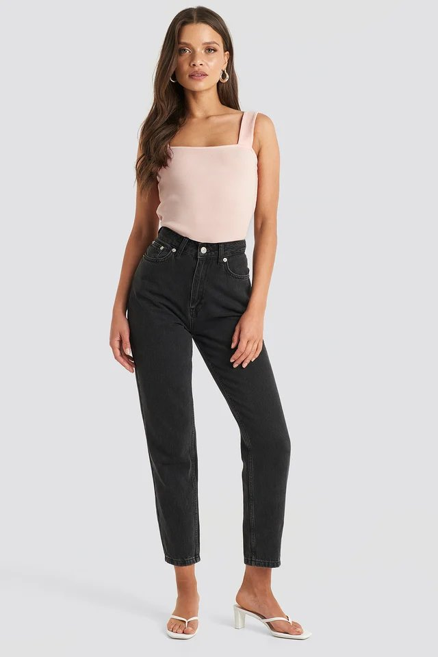 Square Neck Wide Strap Top Pink.