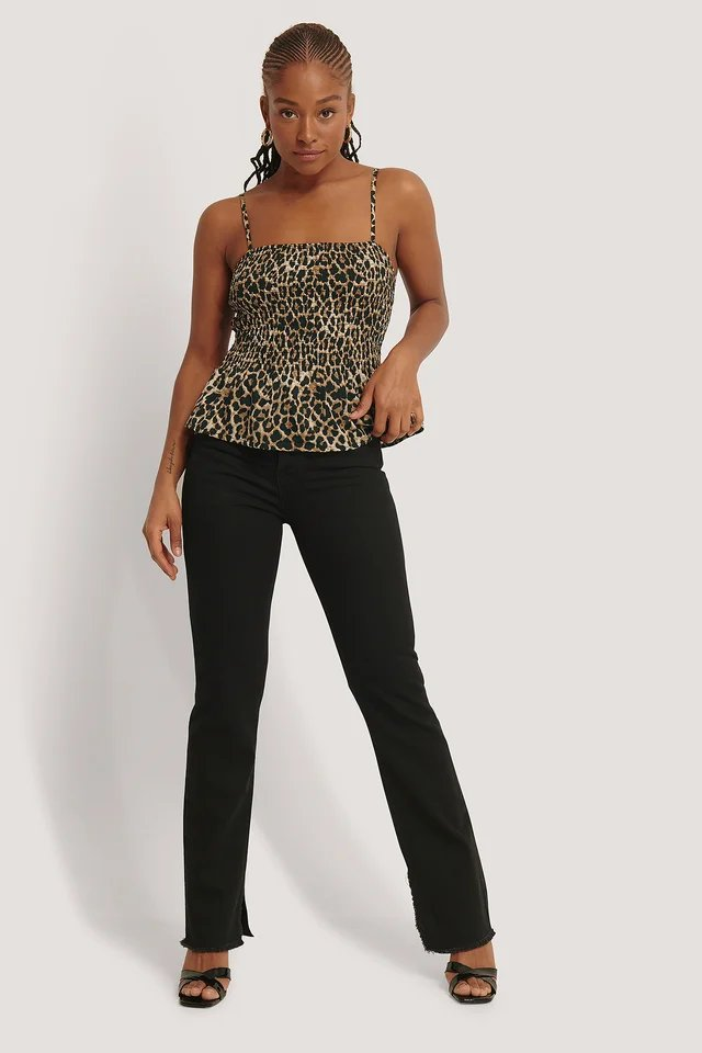 Smocked Thin Strap Top Brown.