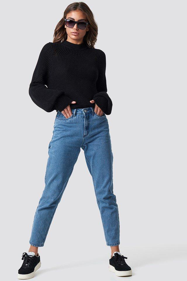 Sunglasses X Black Knit Denim Outfit