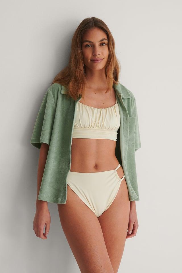 Off White Draped Low Cut Bikini Top