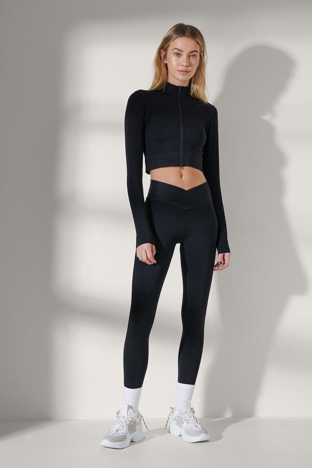 Black Two-Way Zipper Long Sleeve top