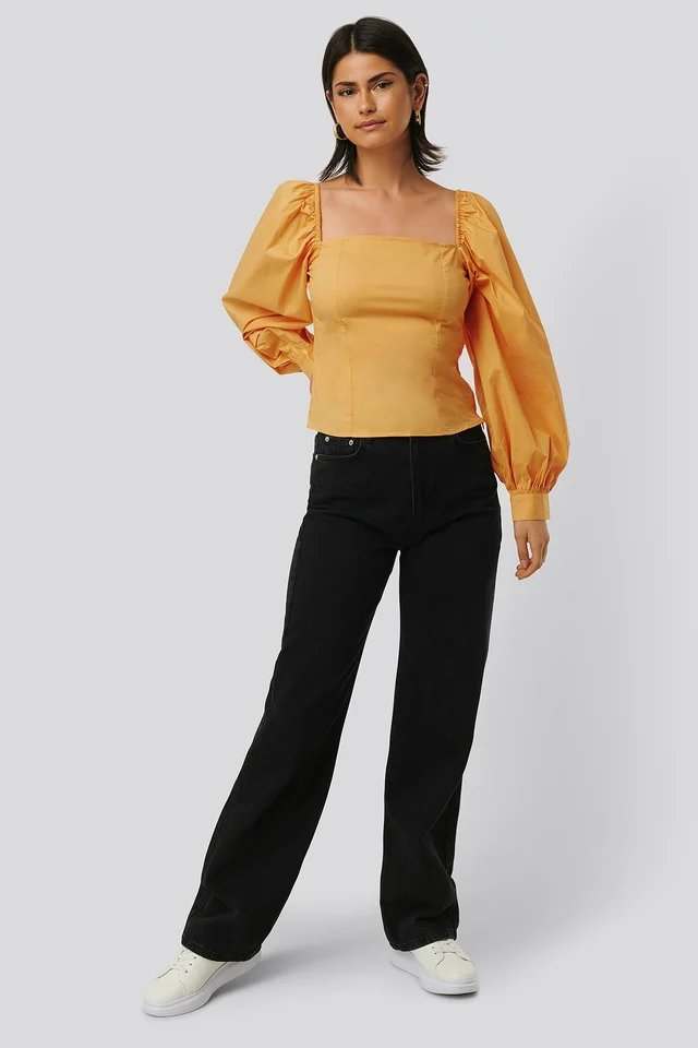 Yellow Balloon Sleeve Blouse