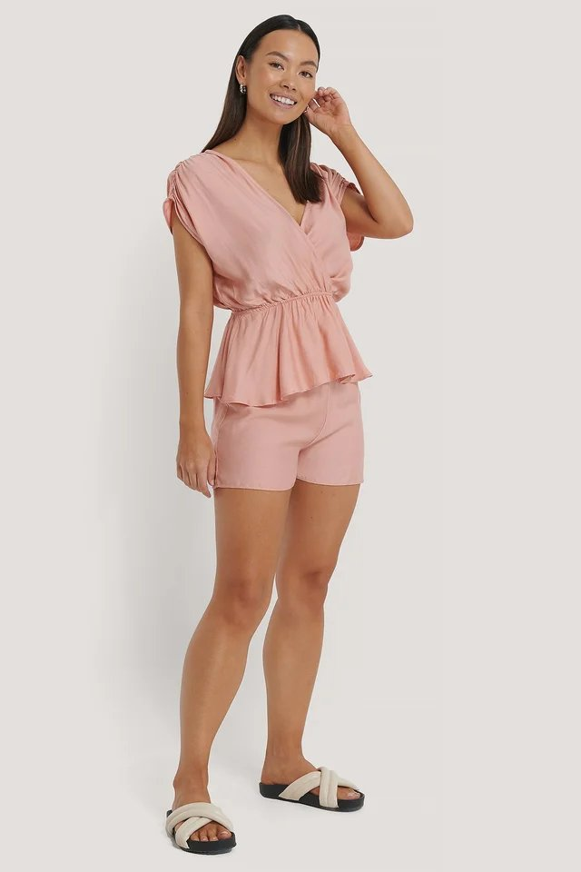 Double Breasted Viscose Pyjamas Set Outfit.