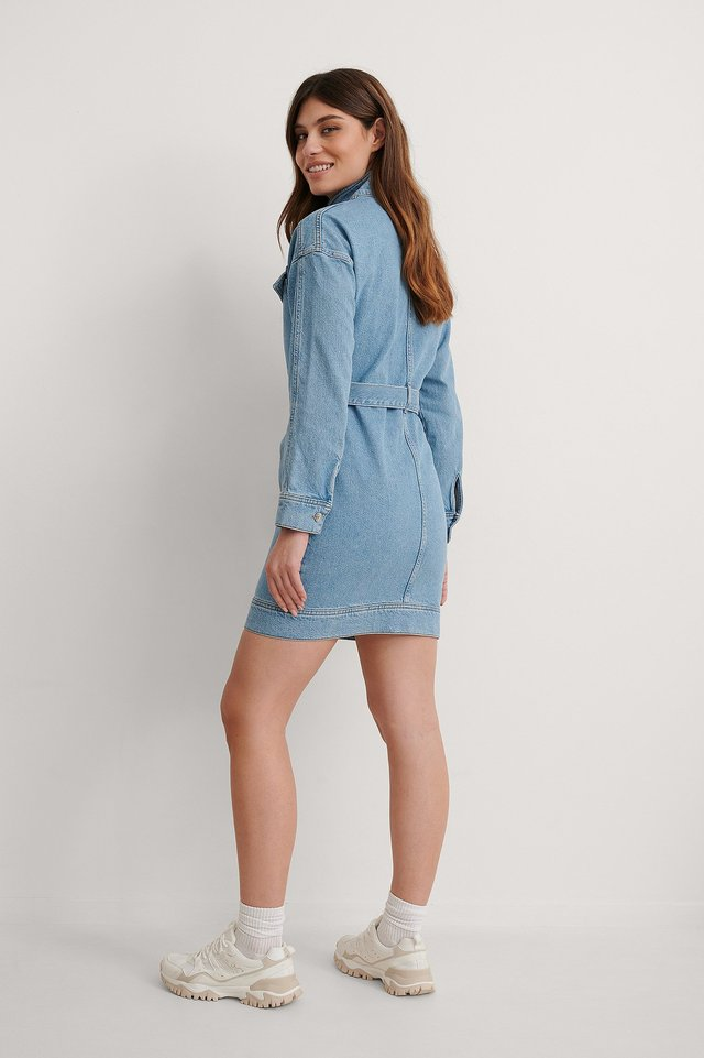 Chest Pocket Denim Dress Outfit.