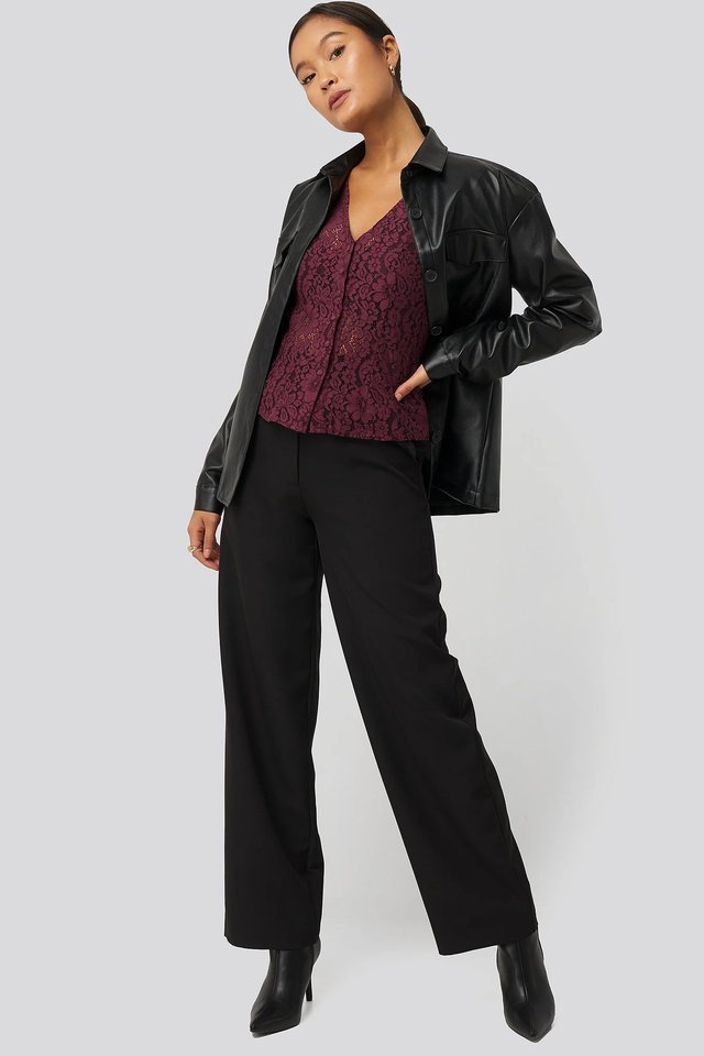 Black High Waisted Wide Leg Suit Pants