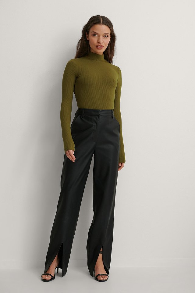 High Waist Slit PU Pants and Long Sleeve Tie Back Top Outfit.