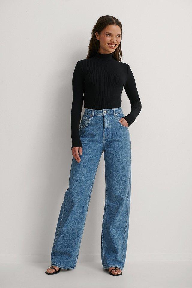 Blue Organic Wide Leg Denim
