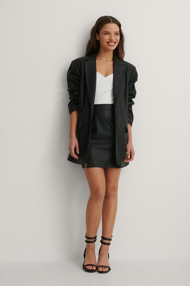PU Mini Skirt Outfit.