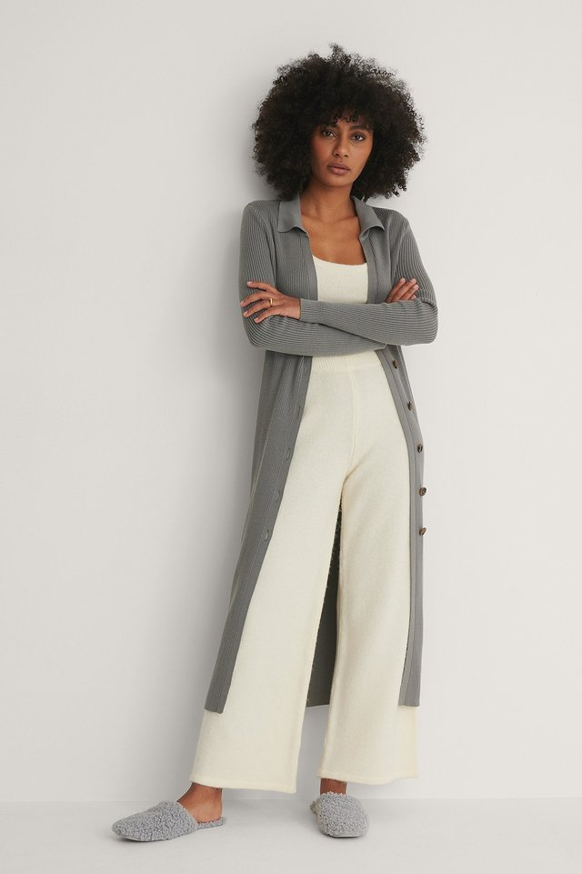 Knitted Wide Cropped Trousers Outfit.