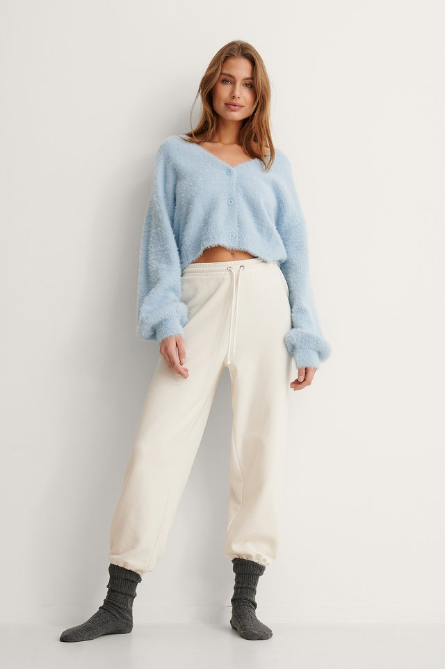 Fluffy Knitted Cardigan Outfit.