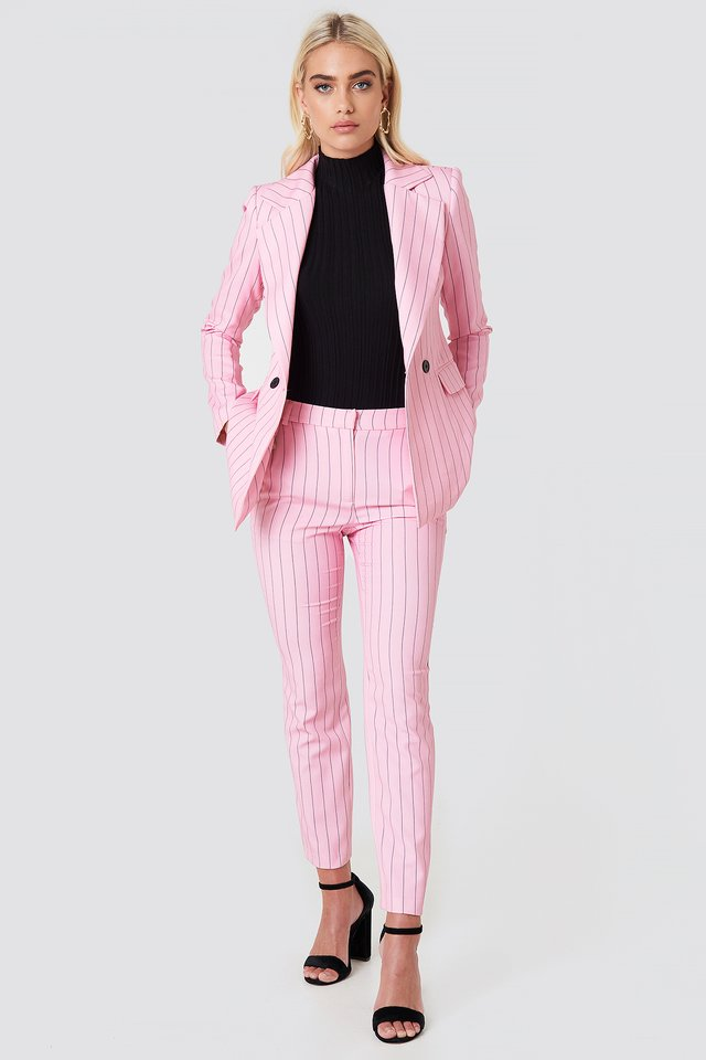 Pink Suit with Blue Stripes