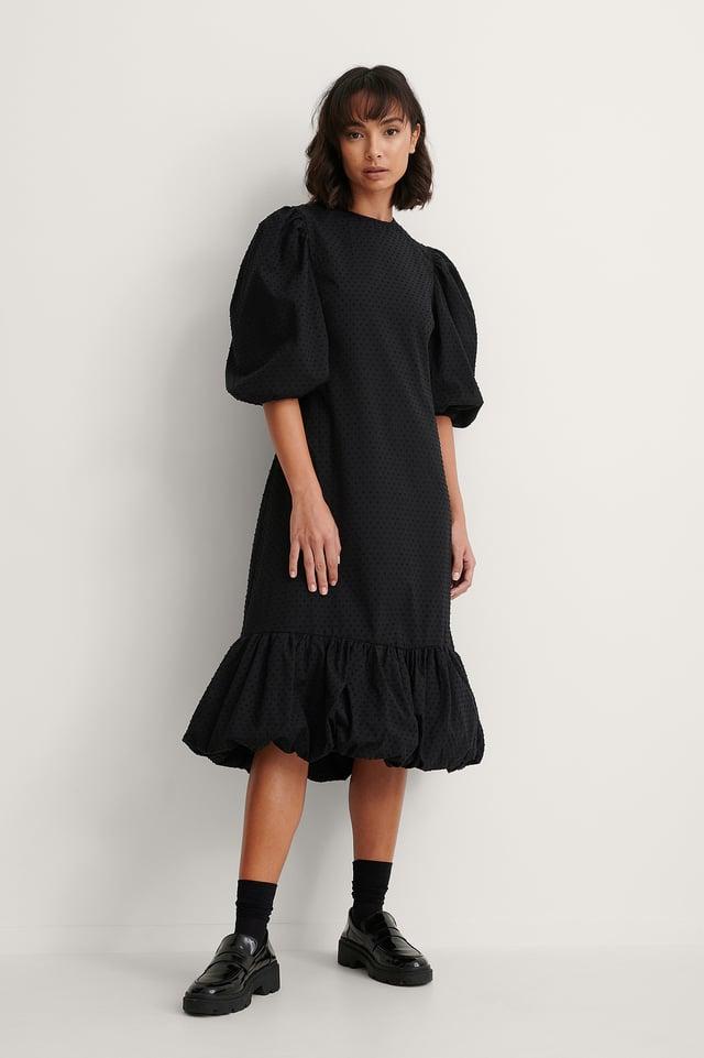Black Back Detail Volume Sleeve Dress