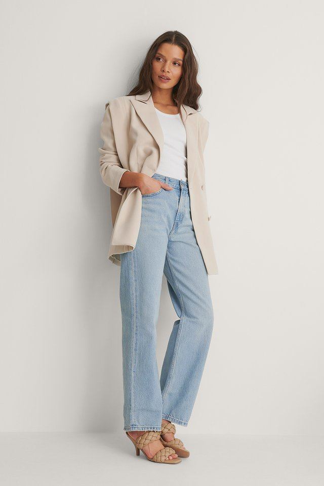 Loose Straight Jeans Low Bow Outfit.
