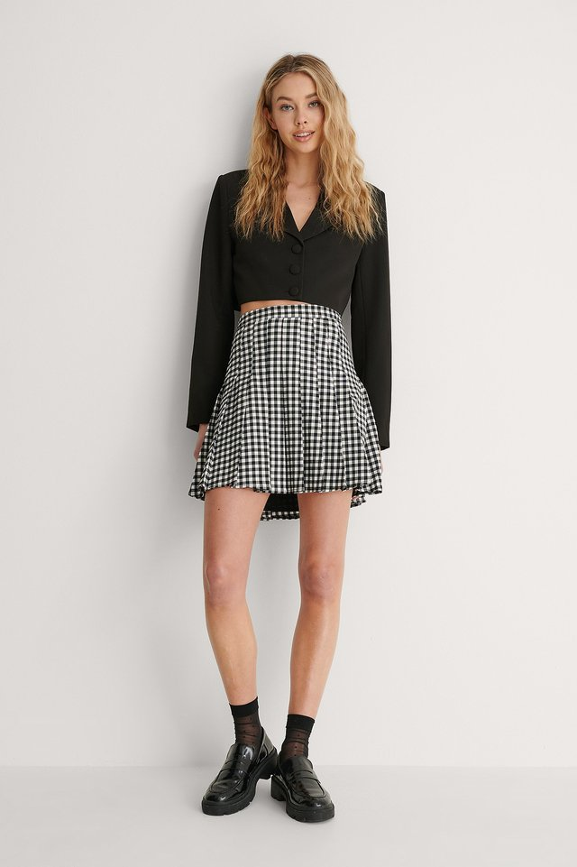 Pleated Check Mini Skirt outfit!