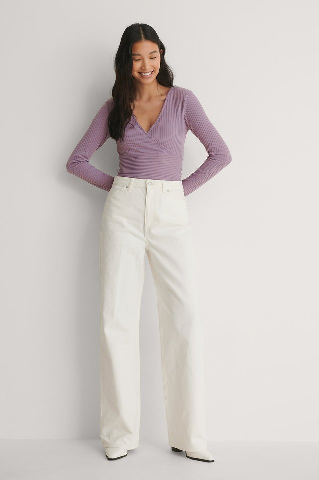 Overlap Ribbed Top Outfit.
