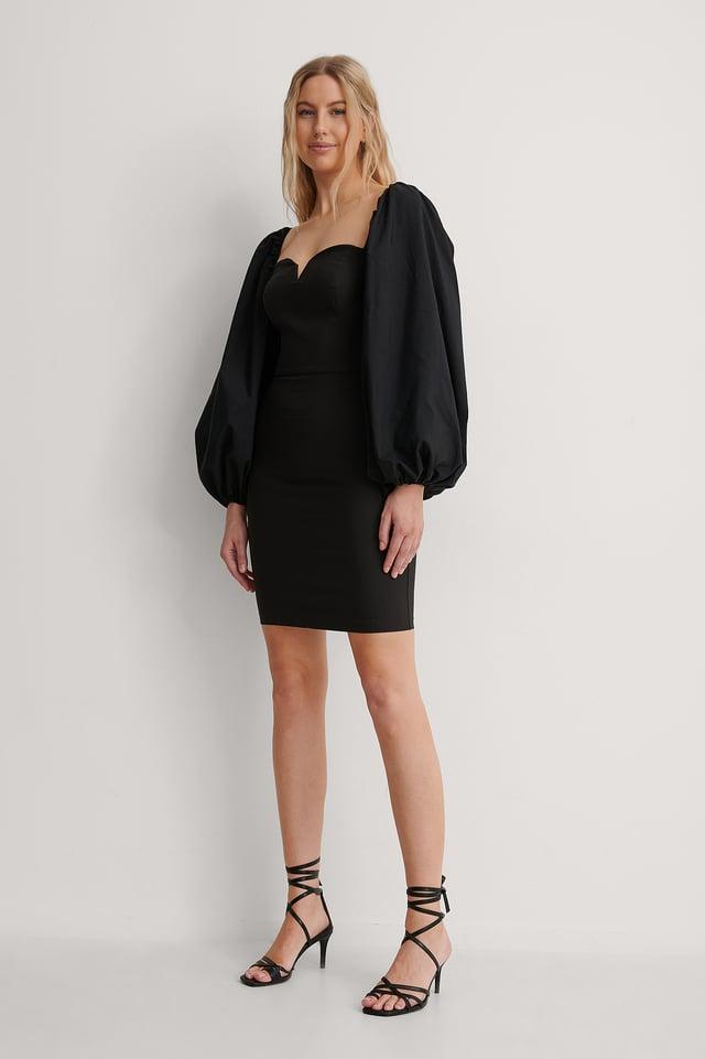 Black Balloon Sleeve Mini Dress