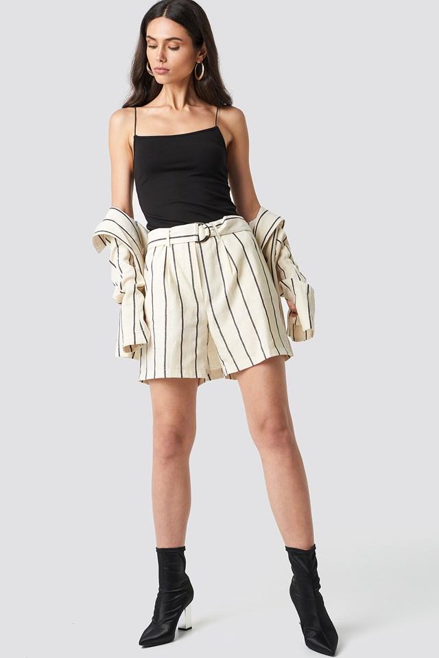 Striped High Waisted Short