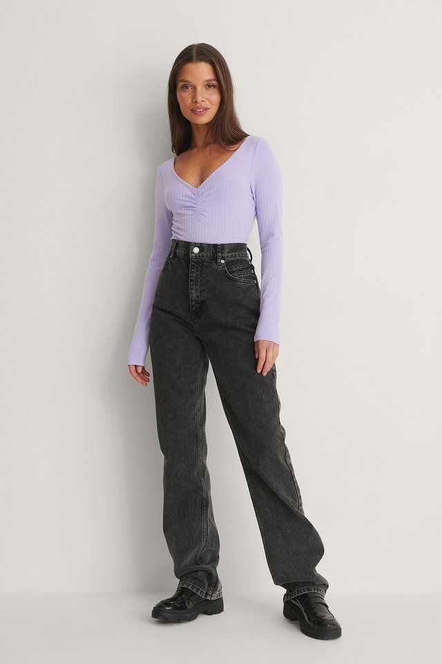 Recycled Front Rouched Ribbed Top Outfit