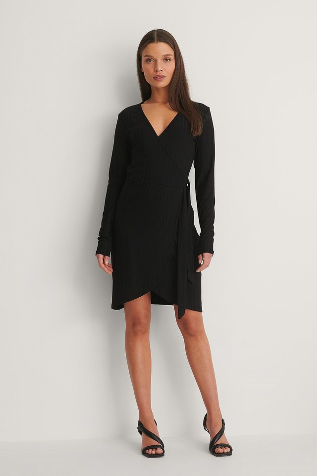 Long Sleeve Wrap Dress Outfit