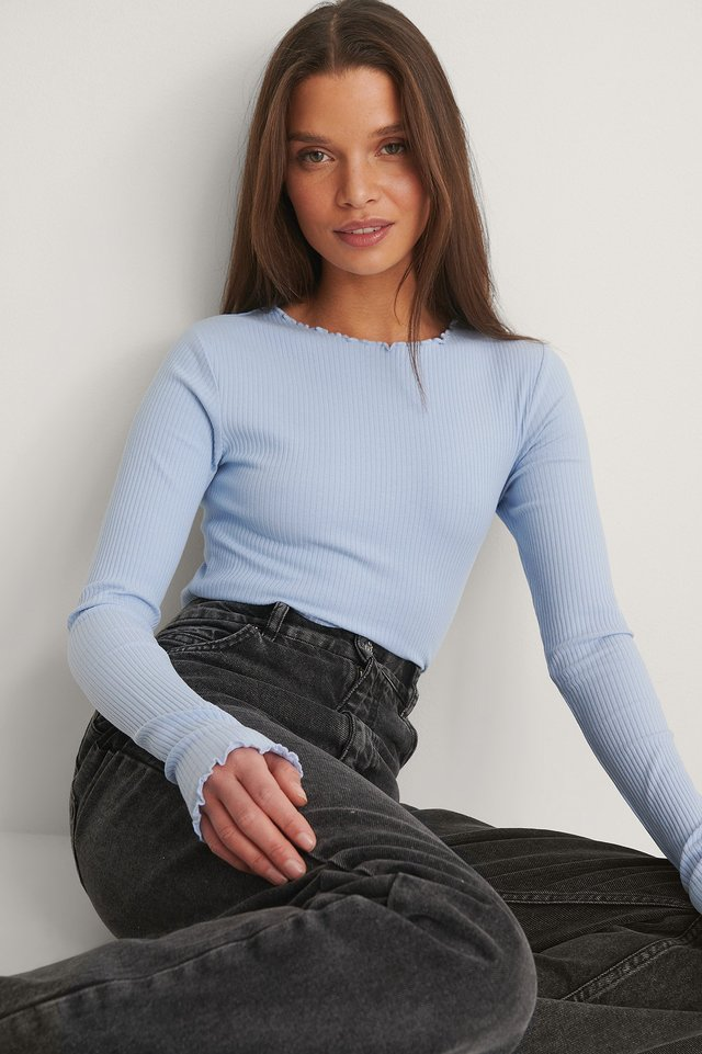 Organic babylock ribbed long sleeve top