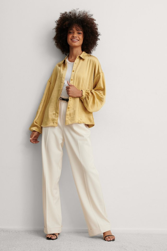 Balloon Sleeve Satin Blouse Outfit.