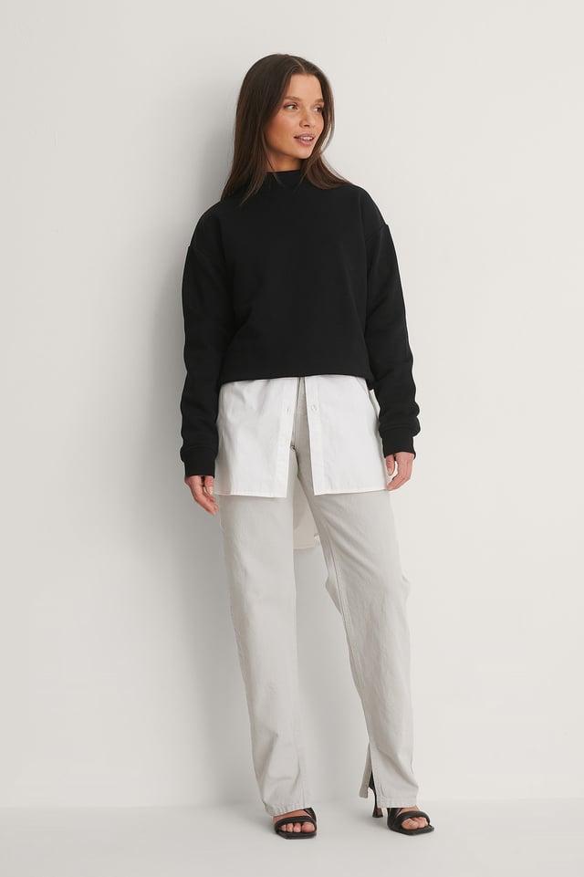 Light Grey Økologiske Jeans Med Sideslids