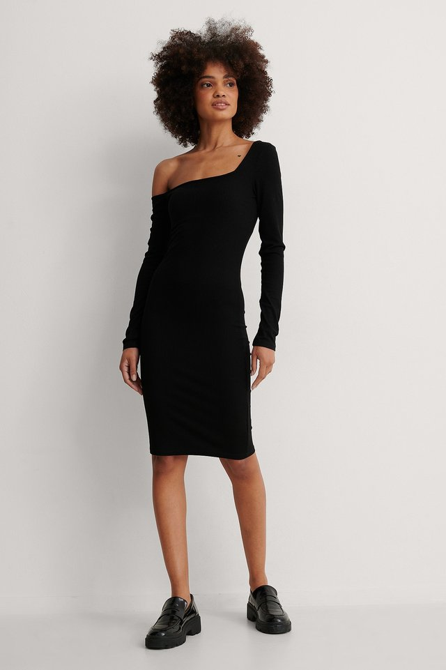 Asymmetric Shoulder Ribbed Dress Outfit.