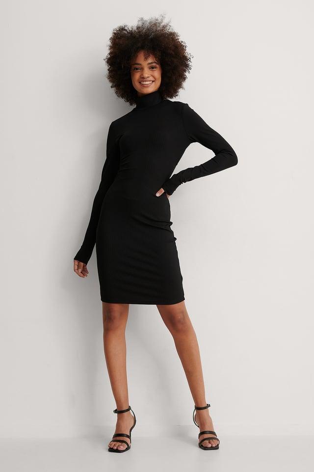 Open Back Highneck Dress Outfit.