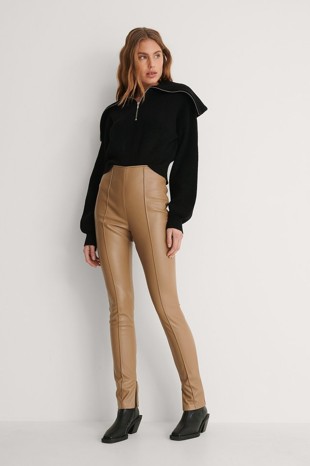 Pintucked PU Leggings Outfit