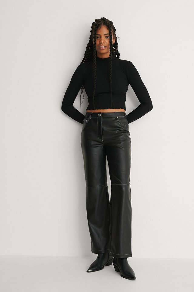 Black Contast PU Pants