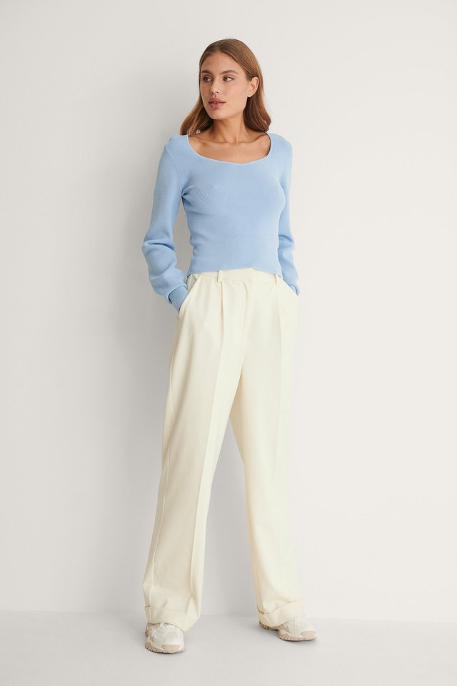 Detail Neckline Knitted Sweater Outfit.