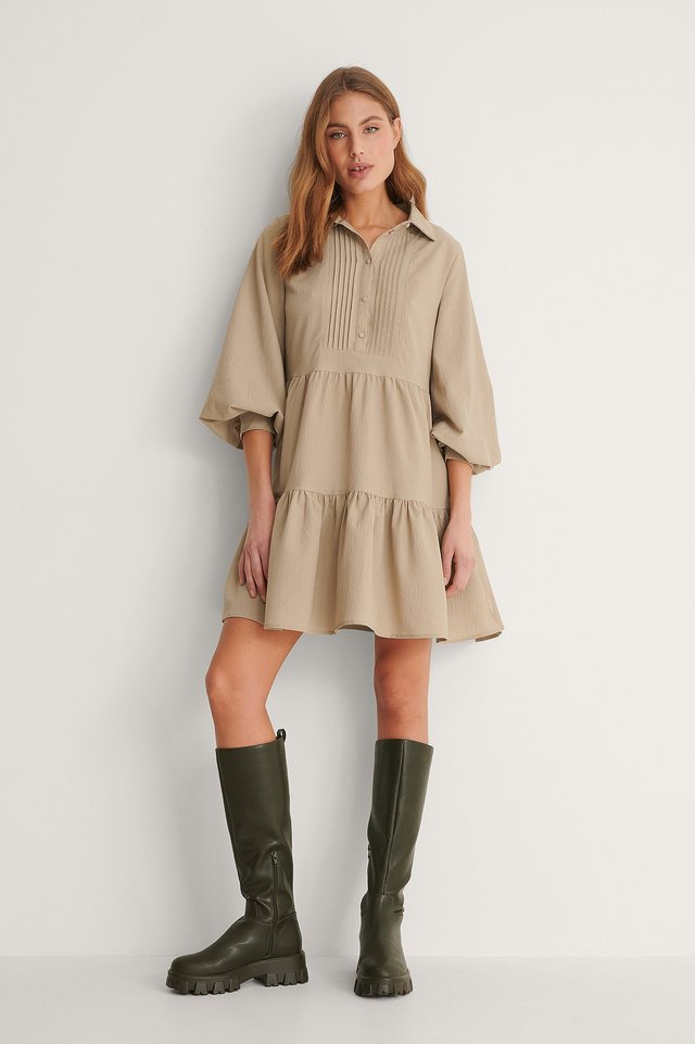 Pleat Detail Shirt Dress Outfit.
